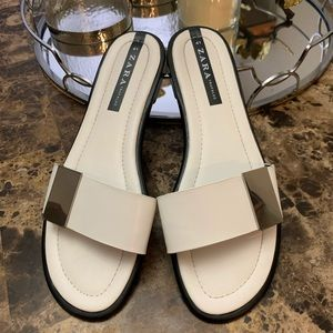 Zara Trafaluc Slides With Silver Accent Buckle 41